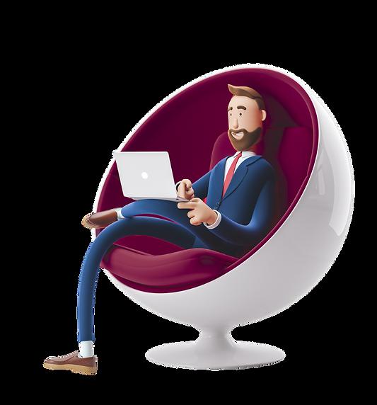 illustration_man in chair_left_Purple_Ad