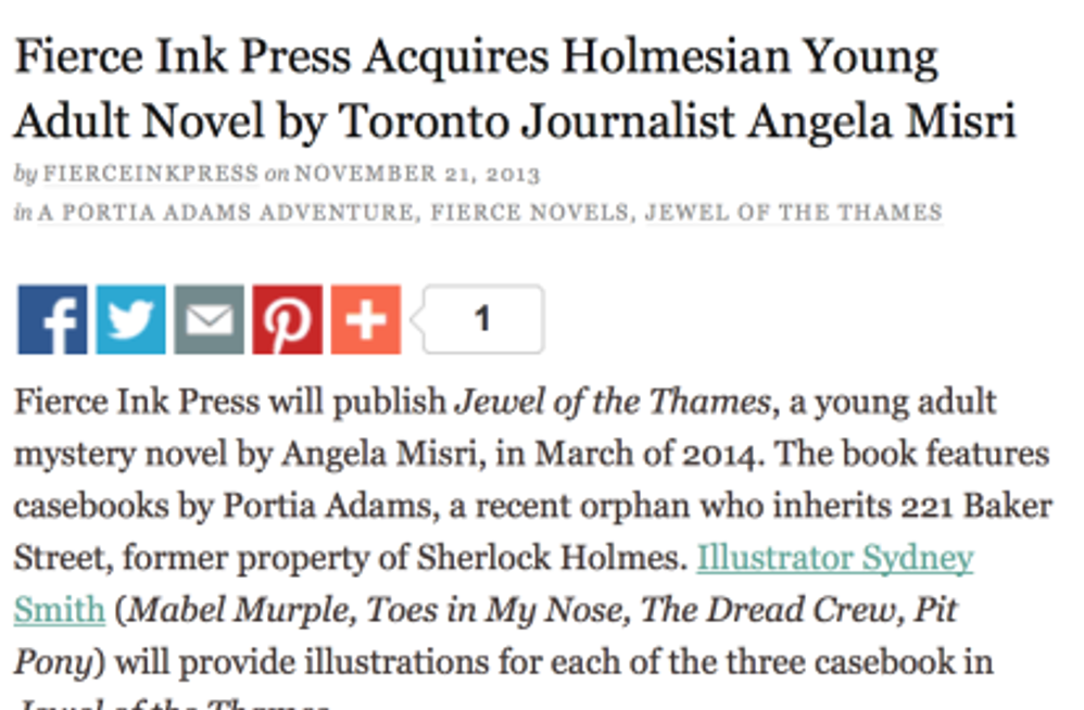 Fierce Ink Press' News release!