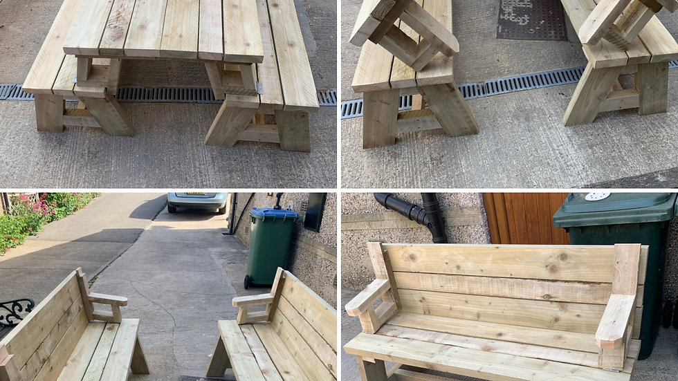 Garden table folds into two benches