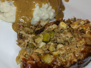 Veggie Load...we mean Loaf with an Apple Butter Glaze sided with Garlic Mashed Potatoes n' The Gravy