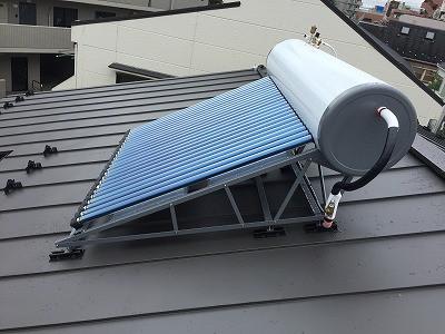 太陽熱温水器設置工事完了しました