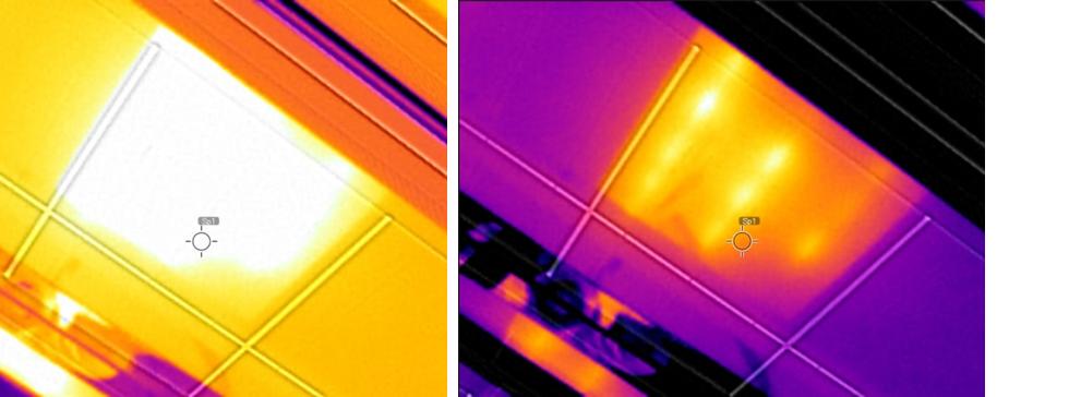 サーモグラフィの現場視認画像とオフィスでの分析画像