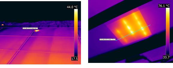 写真1・2 サーモグラフィックカメラでホットスポットを発見。このケースでは、他の部分よりも20℃近くも高温になり、危険な状態であった。