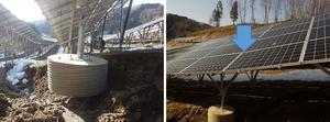 地盤の崩落と太陽電池アレイの沈下による太陽電池へのストレス