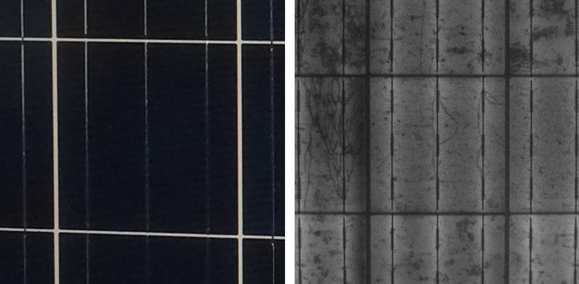 太陽電池の通常画像とそのEL画像