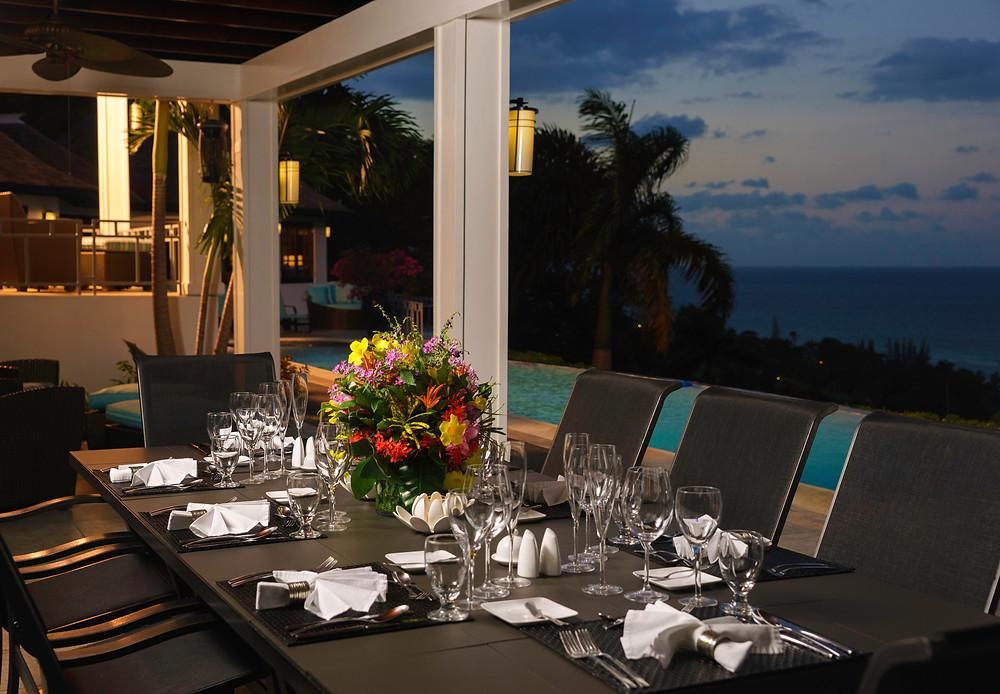Formal outdoor dinning at Anticipation