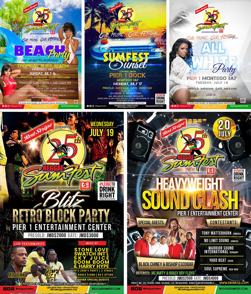 Posters from Reggae Sumfest Events
