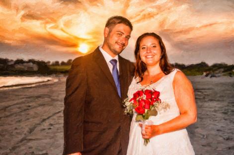 sunset wedding photo art