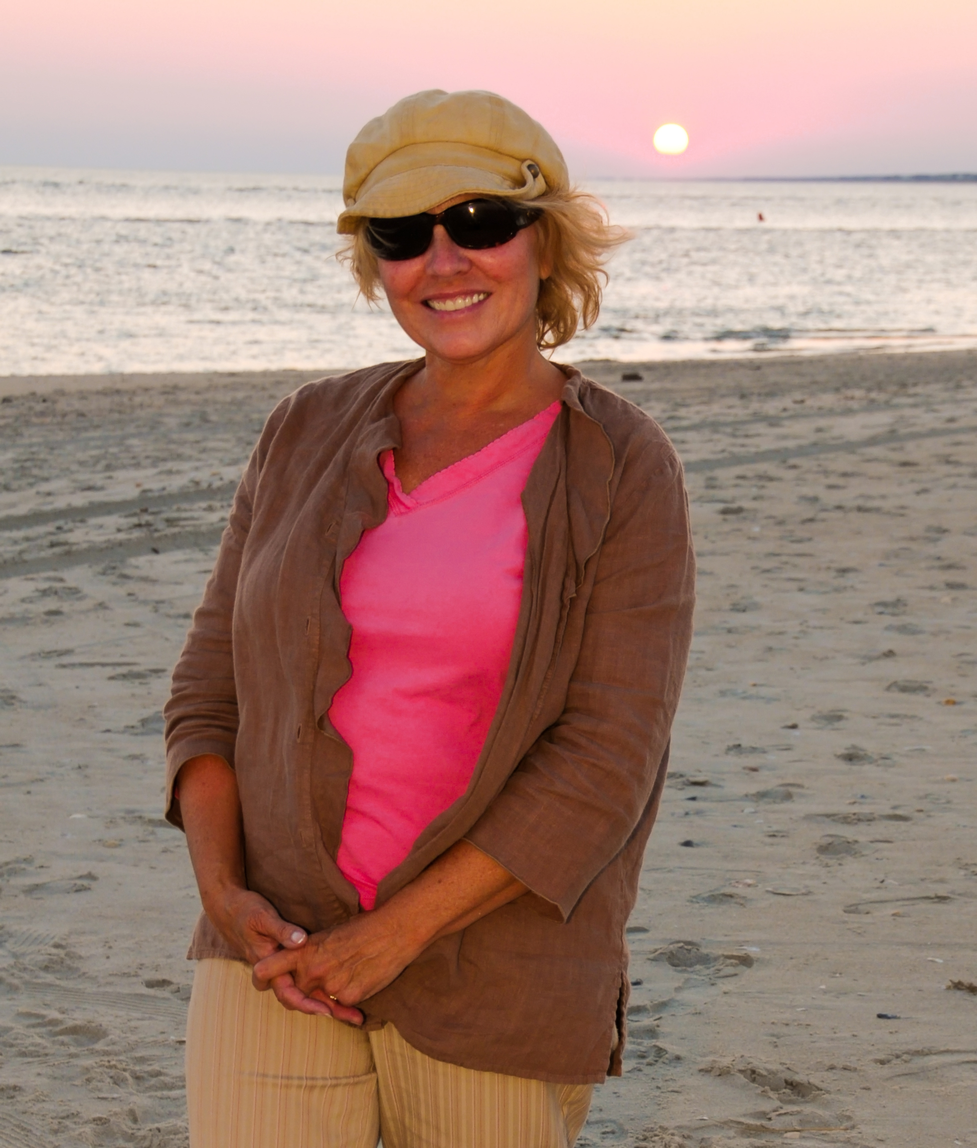 Kathy at sunset on beach
