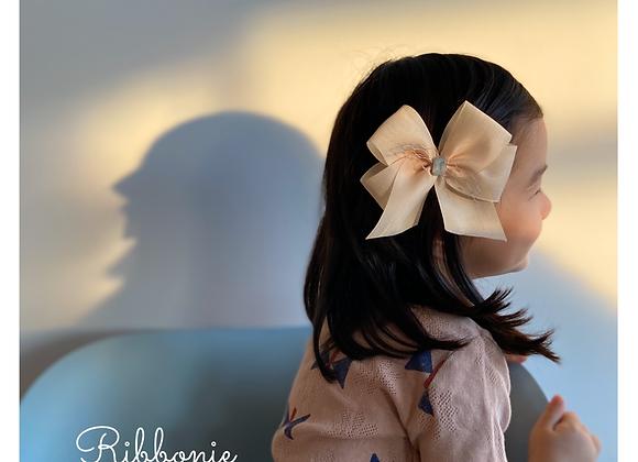 Vanilla Mesh Ribbon Bow Clip