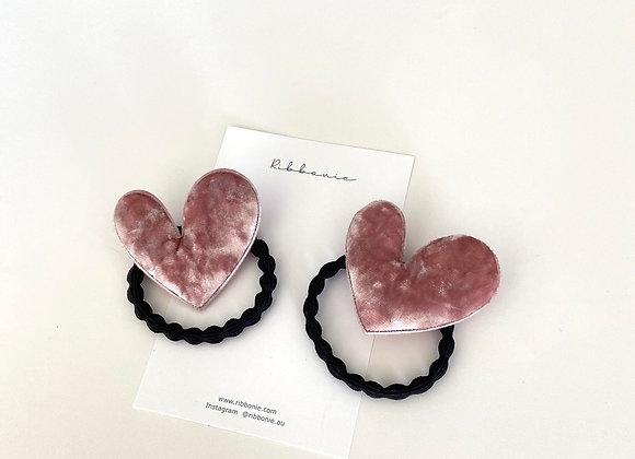 Velvet Heart Hair Tie Set
