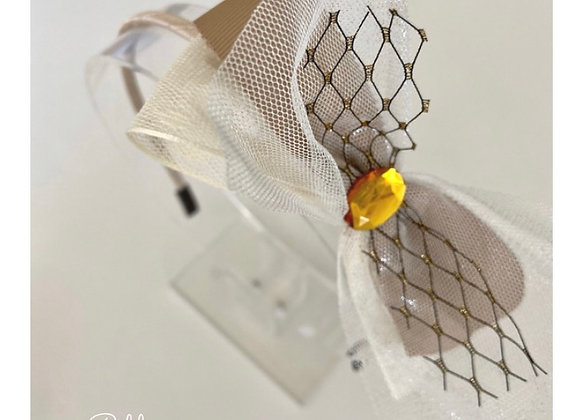 Beige White Tulle Bow Headband