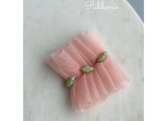Jewel On Pink Tulle Clip