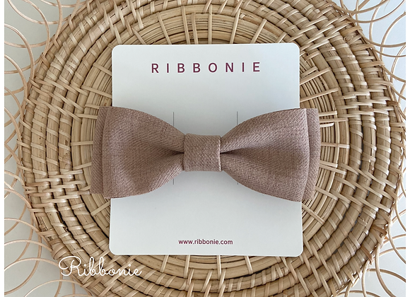Beige Double Bow Clip