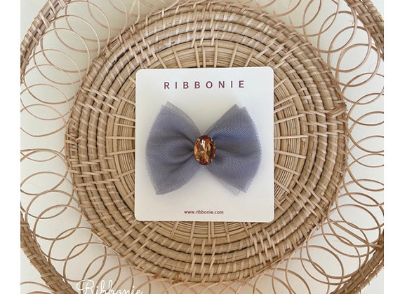 Jewel On Tulle Bow Clip