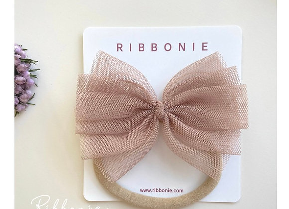 Large Baby Cute Tulle Bow Soft Headband 2