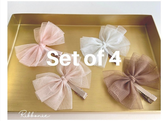 Set of 4  Baby Cute Tulle Bows  on baby clip