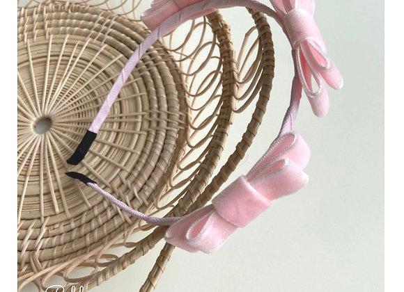 Pink Velvet Bow Headband
