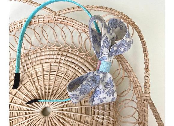 Blue Flower Bow Headband