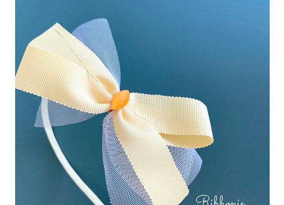 Yellow  White Tulle Bow Headband
