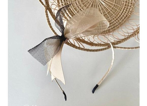 Beige Black Tulle Bow Headband