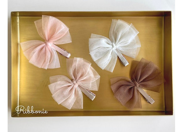 Baby Cute Tulle Bow on baby clip