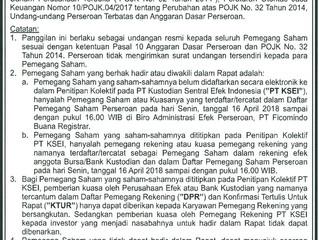 PANGGILAN RUPS LUAR BIASA PT BENAKAT INTEGRA Tbk.