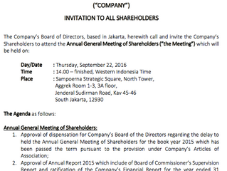 """INVITATION TO ALL SHAREHOLDERS     to attend the Annual General Meeting of Shareholders (""""the Meetin"""