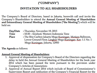INVITATION TO ALL SHAREHOLDERS