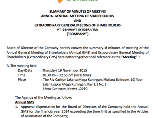 SUMMARY OF MINUTES OF MEETING ANNUAL GENERAL MEETING OF SHAREHOLDERS AND EXTRAORDINARY GENERAL MEETI