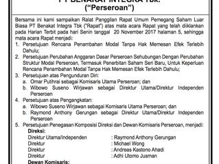RALAT PANGGILAN RUPSLB PT BENAKAT INTEGRA TBk.