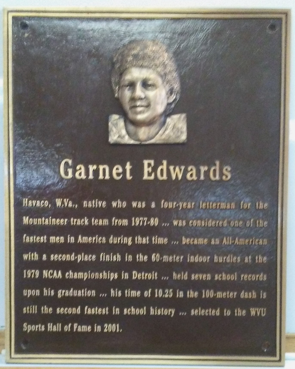 Garnet Edwards a Preimer McDowell County native is a West Virginia University Hall of Famer, in Track and Football.