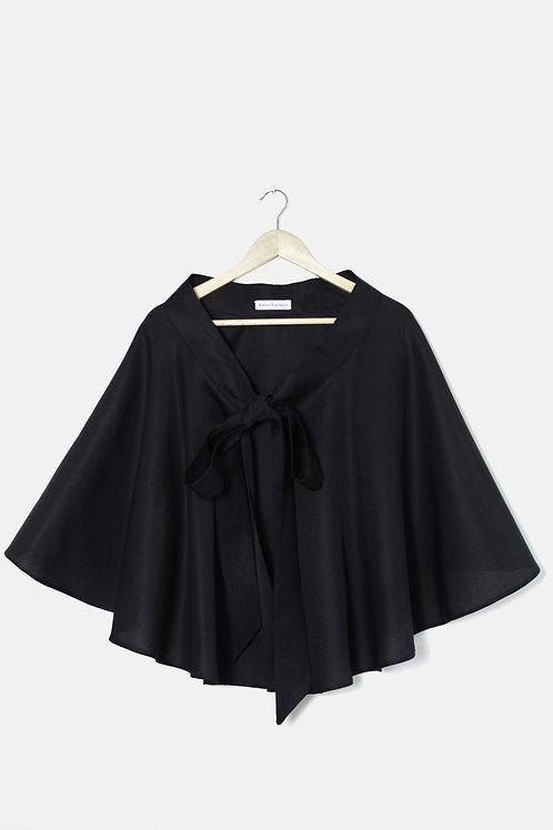 LA JUPE CAPE Tissu Noir Hermès