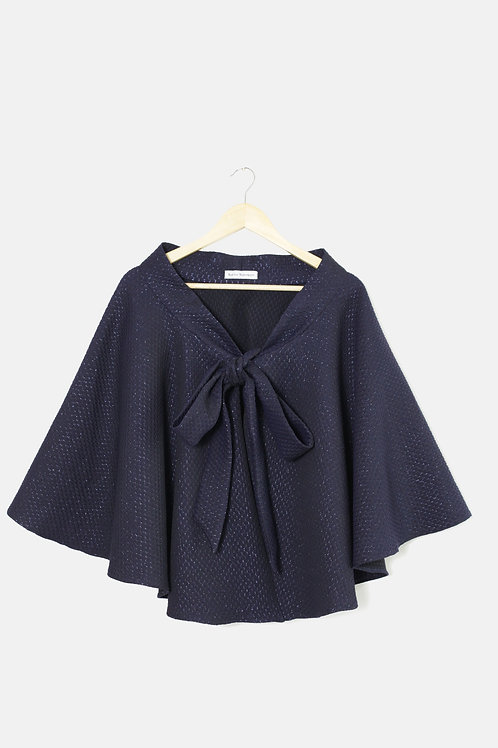 THE CAPE SKIRT Navy Embossed