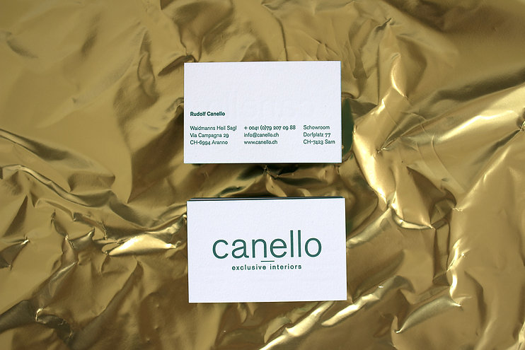 canello exclusive interiors business ca.jpgds letterpress gold foil swiss graphic design typography