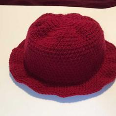 Red crochet bucket hat