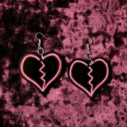 Hand Painted Neon Broken Heart Earrings