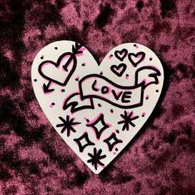 """Hand Painted Valentine's Day Magnet -- """"Love"""" Banner"""