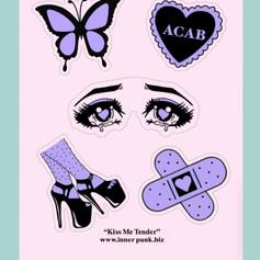 """""""Kiss Me Tender"""" Matte Vinyl Sticker Sheet"""