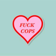 """Fuck Cops"" Heart Shaped acrylic pin"