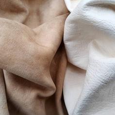 (detail) smoked grain-off buckskin (left), unsmoked grain-on buckskin (right)
