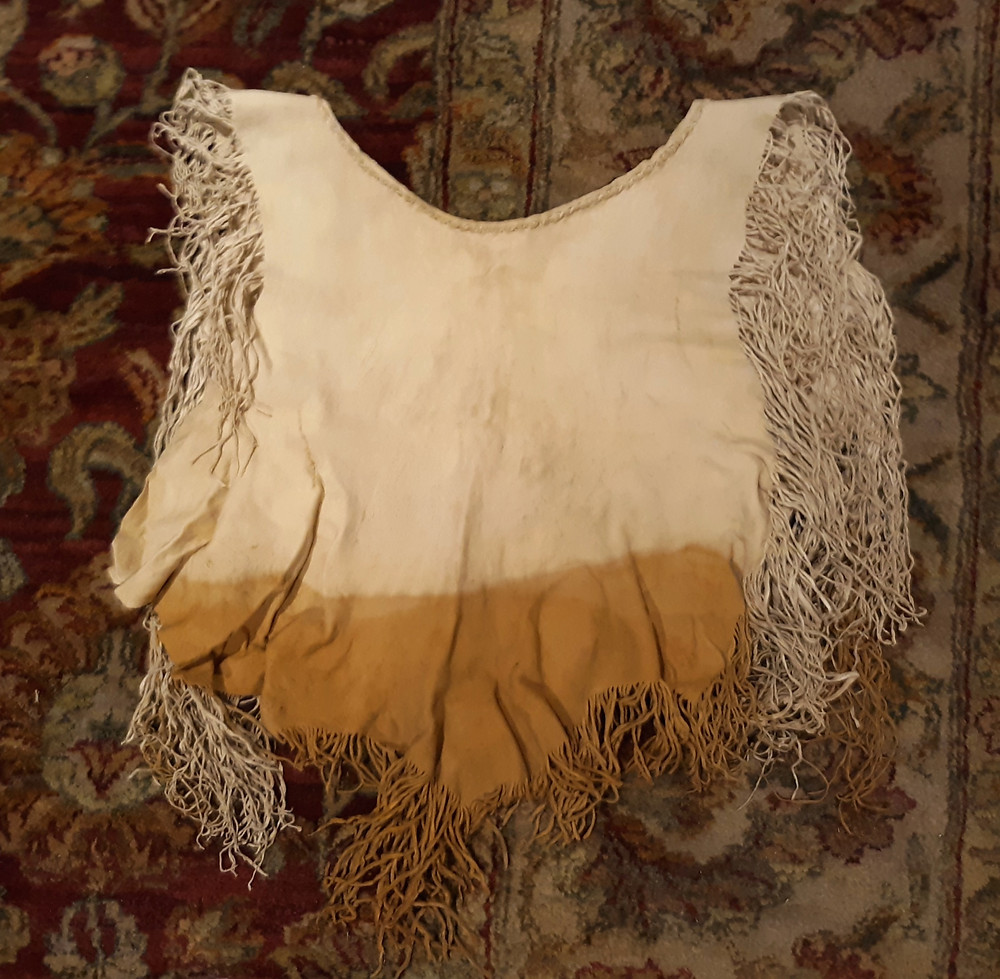 Braintanned buckskin shirt dyed with dyers polypore fine fringe by Victoria Greba