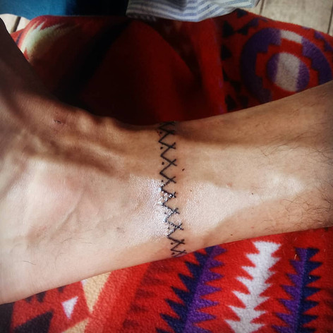 A close-up of the previous ankle band.   Photo taken immediately after tattooing.