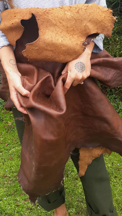 """bark tan"" deer leather"