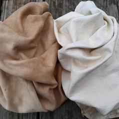 smoked grain-off buckskin (left), unsmoked grain-on buckskin (right)