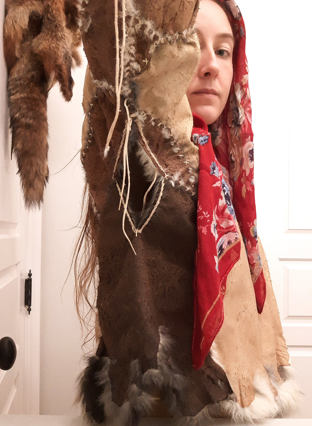 traditional garment construction by Victoria Greba, fur hides rabbit fur coat