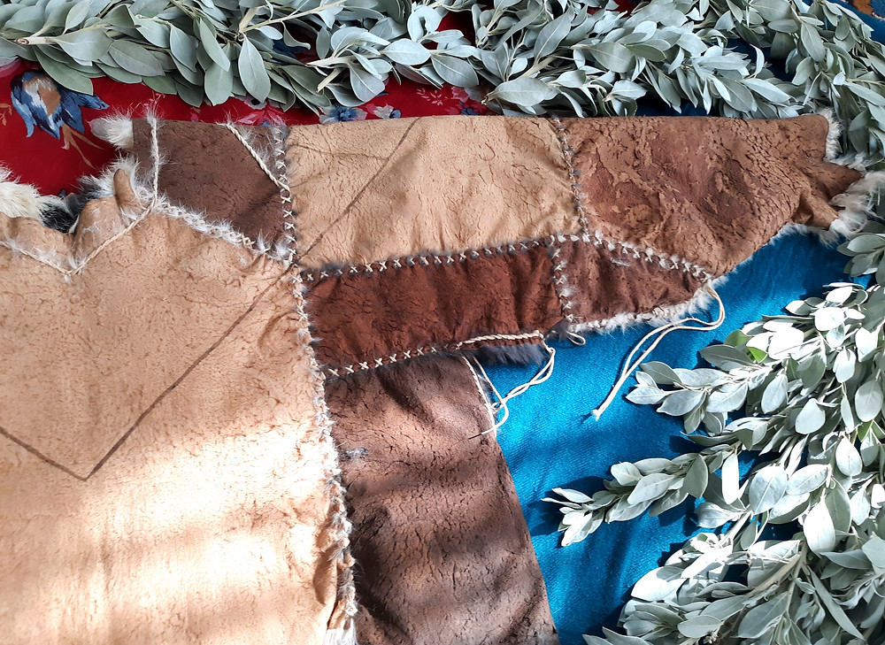 sumac vegetable tanned domestic rabbit fur hide long sleeve Winter garment natural leather bark tanning buckskin stitching by Victoria Greba