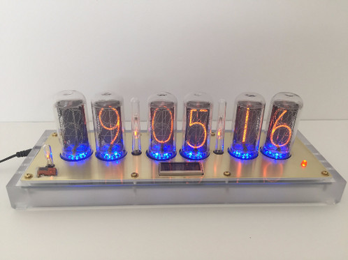 Large Steampunk IN 18 Nixie Tube CLock With Alarm