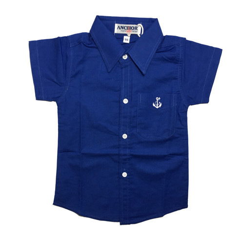 Navy Blue Button Down Short Sleeve Shirt | Popsicle Baby | Online ...