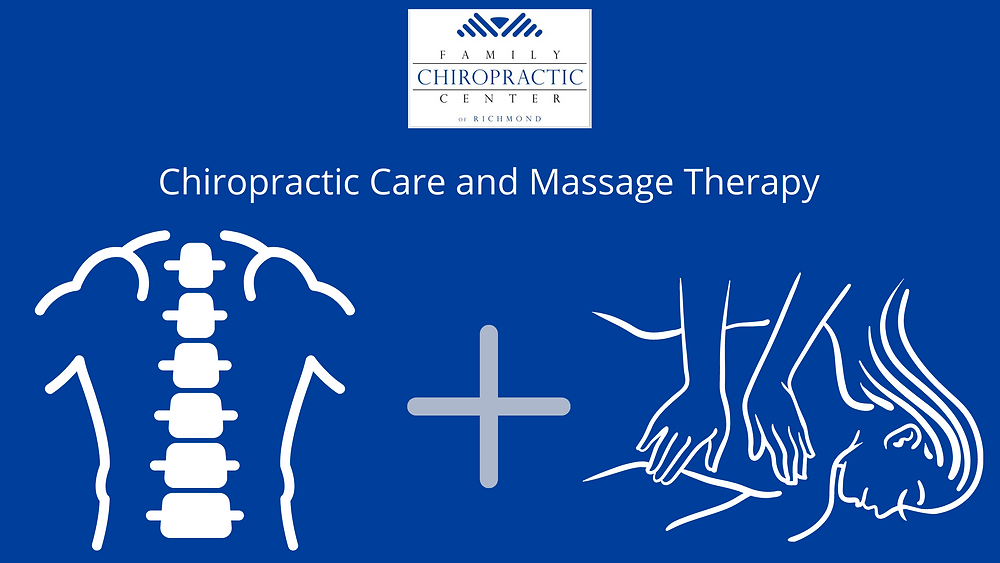 drawing of spine for chiropractic care plus drawing of woman getting massage